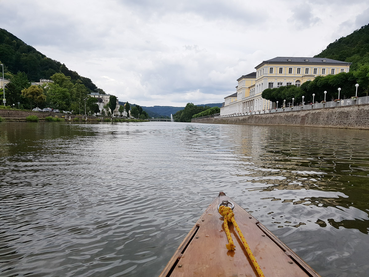 Wasserfontäne in Bad Ems in Sicht